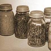 Sephia Vintage Kitchen Glass Jar Canning Art Print