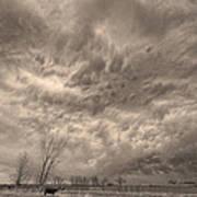 Sepia Angry Skies Art Print