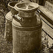 Sepia Photo Of Vintage Creamery Cans At The Old Prairie Homestead Near The Badlands Art Print