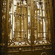 Sepia Spanish Door Art Print