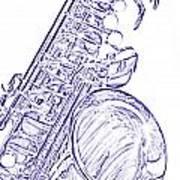 Sepia Tone Drawing Of A Tenor Saxophone 3356.03 Art Print