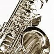 Sepia Tone Photograph Of A Tenor Saxophone 3356.01 Art Print