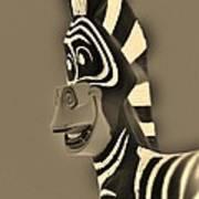 Sepia Zebra Art Print