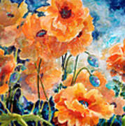 September Orange Poppies            Art Print by Kathy Braud