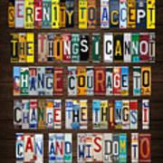 Serenity Prayer Reinhold Niebuhr Recycled Vintage American License Plate Letter Art Art Print