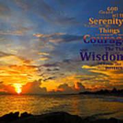Serenity Prayer Sunset By Sharon Cummings Art Print