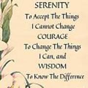 Serenity Prayer Typography On Calla Lilly Watercolor Art Print