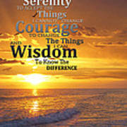 Serenity Prayer With Sunset By Sharon Cummings Art Print