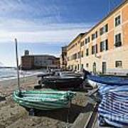Sestri Levante And Boats Art Print