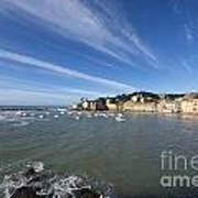 Sestri Levante With Blue Sky And Clouds Art Print