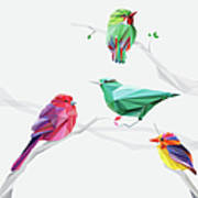 Set Of Abstract Geometric Colorful Birds Art Print