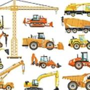 Set Of Detailed Heavy Construction And Art Print