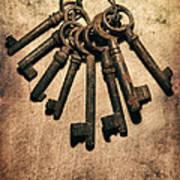 Set Of Old Rusty Keys On The Metal Surface Art Print