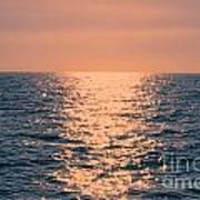 Setting Sun At Sea Art Print
