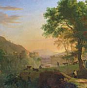 Setting Sun, Italy Oil On Canvas Art Print