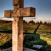 Setting Sun On A Cross By The Trenches Art Print