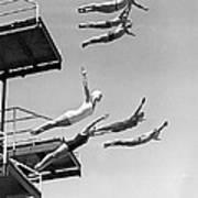 Seven Champion Diving In La Art Print