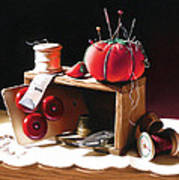 Sewing Box In Reds Art Print by Dianna Ponting