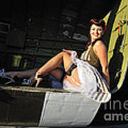 Sexy 1940s Style Pin-up Girl Sitting Art Print by Christian Kieffer