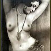Sexy Nude Dark Green Border  Art Print