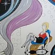 Sexy Woman Sitting In A Chair At A Nightclub Art Print
