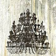 Shabby Chic Rustic Black Chandelier On White Washed Wood Art Print