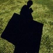 Shadow Carrying Art Portfolio And Drinking A Soda Art Print