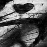 Shadow Heart Rough Charcoal Art Print