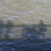 Shadow Of People Standing On The Bridge Over The River Main In Frankfurt Am Main Germany Art Print