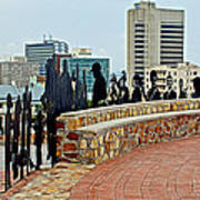 Shadow Representations Of People Coming To The Port In Donkin Reserve In Port Elizabeth-south Africa   Art Print
