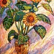 Shadows On Sunflowers Art Print