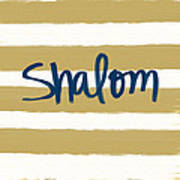 Shalom- Blue With Gold Art Print