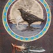 Shaman Black Raven And His Mate Medicine Woman Blue Fairy Animal Spirit Medicine Wheel Art Print