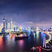 Shanghai Skyline At Night Art Print