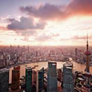 Shanghai With Drifting Clouds Art Print