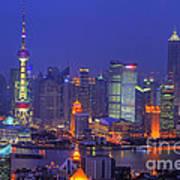 Shanghai's Skyline Art Print by Lars Ruecker