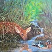 Sharing The Pond Art Print