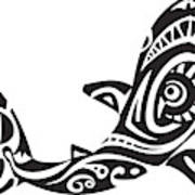 7411f6af17dc3 Shark Tattoo In Maori Style. Vector Illustration Canvas Print ...