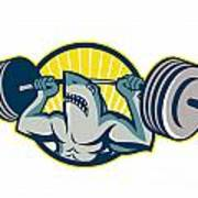 Shark Weightlifter Lifting Barbell Mascot Print by Aloysius Patrimonio