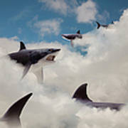 Sharks Floating In Clouds Art Print