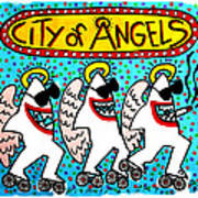 Sharks In The City - City Of Angels Art Print