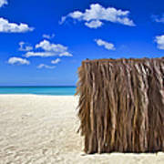 Shelter On A White Sandy Caribbean Beach With A Blue Sky And White Clouds II Art Print