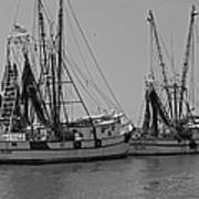 Shem Creek Shrimpers - Black And White Print by Suzanne Gaff