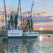 Shem Creek Shrimpers Charleston  Art Print by Richard Harpum
