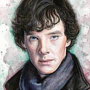 Sherlock Holmes Portrait Benedict Cumberbatch Art Print by Olga Shvartsur