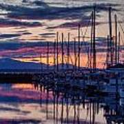 Shilshole Olympic Mountains Sunset Art Print