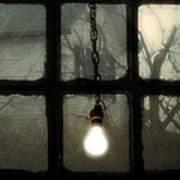 Lit Light Bulb Shines In Old Window Art Print