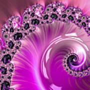 Shiny Pink Fractal Spiral Art Print