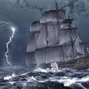 Ship In A Storm Art Print