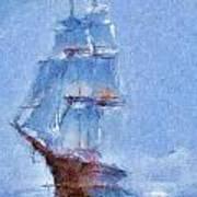 Ship In Fog Art Print